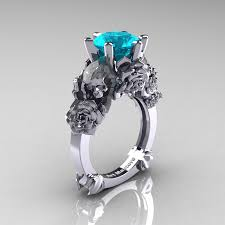 zircon engagement rings and sorrow 14k white gold 3 0 ct blue zircon skull and