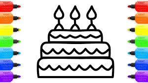 cake and candles coloring pages how to draw big cake funny