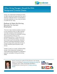 Driving Background Check Hiring Managers Check Driving Records When Conducting An Employment