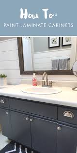what of paint to paint laminate cabinets bathroom update how to paint laminate cabinets the