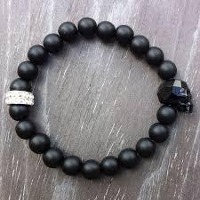 black bead skull bracelet images Noble gent al men accessories mens jet black swarovski skull jpg