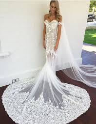 lace wedding dresses with sleeves buy magnetic the shoulder sleeves court mermaid