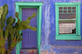 blue door and window santa fe southwestern adobe house
