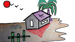 class 12 scenery drawing how to draw a village scenery for kids