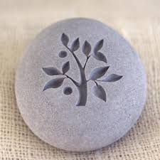 tree of life engraved pebble stones home decor paperweight by