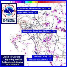 Lightning Strike Map More Than 1 400 Lightning Strikes Hit Southern California Over Weekend
