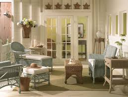 French Country House Interior - cottage porch with french doors u0026 custom painted wicker furniture