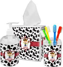 cowprint w cowboy bathroom accessories set personalized potty