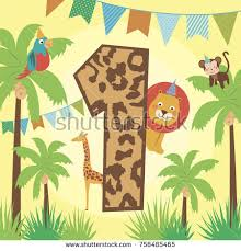 Jungle Birthday Card Happy Birthday Card African Animals Vector Stock Vector 632252420