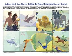 adam and eve were called to rule match game children u0027s bible