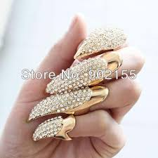 finger ring design exaggerated design favorite finger with rhinestone nail