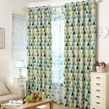 Contemporary Blackout Curtains Modern Brief Blackout Green And Blue Geometric Curtains