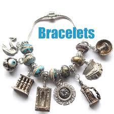european bead charm bracelet images Vintage silver enamel souvenir travel shield jpg