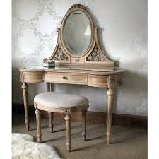 Jewelry Vanity Table Varnished White Oak Wood Dressing Table With Jewelry Armoire Of