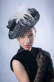 elegant veiled hat black white headpiece royal ascot fascinator