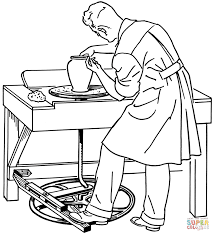 man working on pottery wheel coloring page free printable