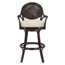 Bar Stool With Back Chairs Lacquered Rattan Bar Stool With Woven Back Black