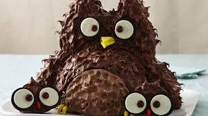 owl cake owl with babies cake recipe bettycrocker
