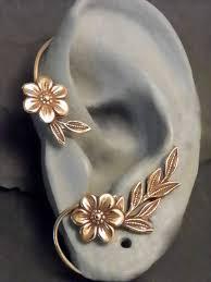 ear wrap flower and leaf ear wrap golden garden brass ear cuff