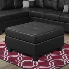 black leather square ottoman shop monarch specialties casual black faux leather square ottoman at