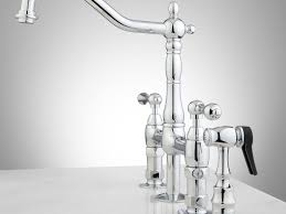 bridge kitchen faucet with side spray faucet bellevue bridge kitchen faucet with brass sprayer lever