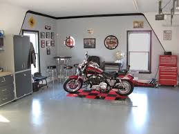 after remodel inside harley davidson garage painted with gray wall