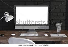 bureau d ontable 3d illustration pc screen on table illustration libre de droits