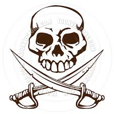 pirate skull and crossed swords symbol by geoimages toon vectors