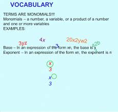 multiplying monomials and raising monomials to powers ppt download