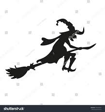 halloween witch silhouette isolated vector illustration stock
