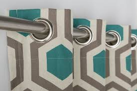 Teal Curtains Geometrical Hexagon Teal Walnut Lined Eyelet Curtains