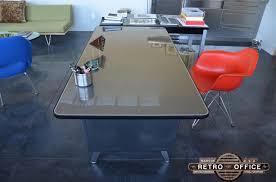 all steel equipment vintage panel leg table vintage steel table
