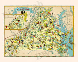State Map Of Virginia by Pictorial Map Of Virginia Colorful Fun Illustration Of