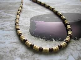 bead necklace wood images Brown and baige wood beads necklace choker 18 inches jpg