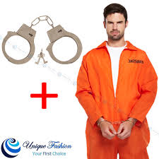 Prison Jumpsuit Orange Prisoner Inmate Jumpsuit Fancy Dress Robber Costume