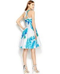 calvin klein floral print pleated dress in blue lyst