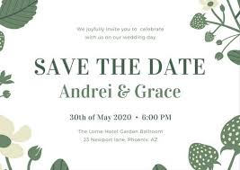 Postcard Save The Dates Green And White Garden Flowers Save The Date Postcard Templates
