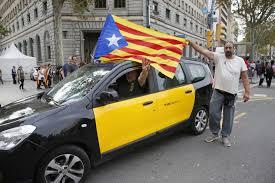 Estelada Flag Cuba Journal Taxi Driver Displays The Estelada In Barcelona Today