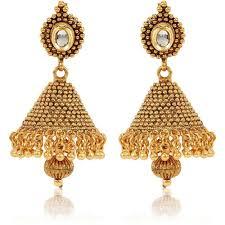 fancy jhumka earrings youbella traditional gold plated jewellery kundan fancy party wear