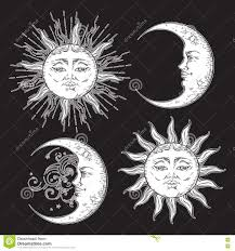 antique style hand drawn art sun and crescent moon set boho chic