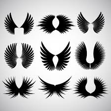 various different designs of wing silhoeuttes vector free