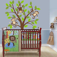 tree wall decal monkey nursery kids removable wall vinyl decal monkey sleeping on the branch wall decal