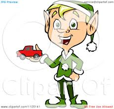 clipart happy male christmas elf holding a toy car royalty free