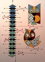 atomic mid century modern owl print retro by colbyandfriends