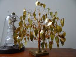 26cm vintage mid century tree of life copper wire gold leaf dream