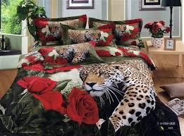 Red Bedroom Comforter Set 3d Leopard Red Rose Animal Print Bedding Comforter Set Queen Size