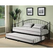 amazon com dhp sturdy modern metal daybed roll out trundle combo
