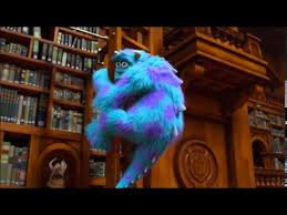 monsters university library battle