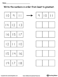 least to greatest number sorting 10 through 19 sorting math