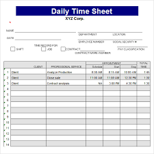 company daily timesheet template and format sample vlashed